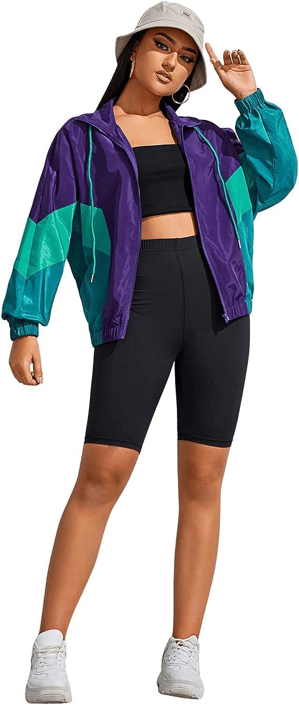 80s Outfit Inspiration, Party Ideas SweatyRocks Womens Lightweight Windbreaker Patchwork Zipper Sport Jacket Coat Outerwear  AT vintagedancer.com