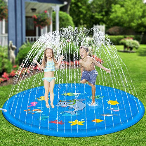 Hotdor Sprinkle & Splash Play Mat 68' Sprinkler for Kids Outdoor Water Toys for 3-12 Year Old Boys Girls Children Outdoor Party Sprinkler Toy Splash Pad