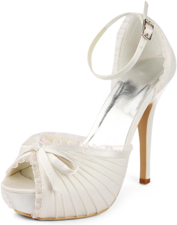 Zioso TMZ367 Women's Platform Ankle Strap Satin Bridal Wedding Evening Formal Party Sandals