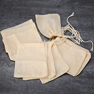 EORTA 50 Pieces Tea Strainer Bags Reusable Coffee/Tea/Herb Brew Bags Loose Leaf Infuser Cotton Muslin Drawstring Bags for Office Home Kitchen Cooking Travel, Beige