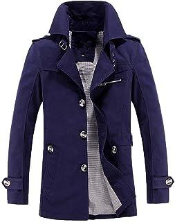 HX fashion Giacca a Vento Lunga Uomo Giacca da Invernale Trench Taglie Comode Cappotto da Uomo Calda Giacca Corta Invernal...