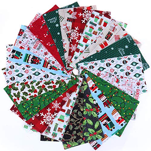 20 Pieces Cotton Fabric Christmas Fabric Bundles Sewing Square Fabric Scraps Christmas Printing Quilting Fabric Squares 10 Christmas Patterns Cotton Patchwork for DIY Craft Christmas Party Supplies