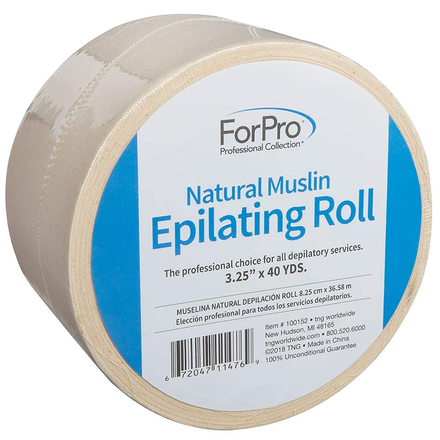 "ForPro Natural Muslin Epilating Roll, Tear-Resistant, for Hair Removal, 3.25"" W x 40 Yds"