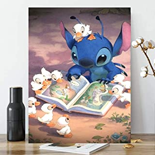 Karyees 20x14Inch Disney Stitch and Duck DIY 5D Diamond Painting by Numbers Kits Lilo and Stitch DIY 5D Diamond Canvas Painting by Number Full Drill Diamond Embroidery PaintingsDisney Lilo Stitch