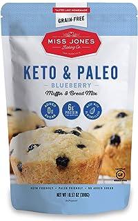 Miss Jones Baking Keto Blueberry Muffin Mix - Gluten Free, Low Carb, No Sugar Added, Naturally Sweetened Desserts & Treats...
