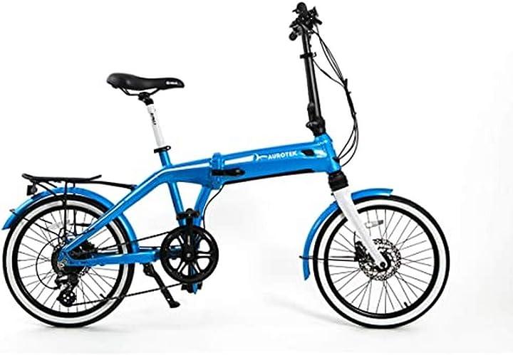Bicicletta elettrica pieghevole unisex adulto blu oceano m aurotek sintra B082TFP9X3