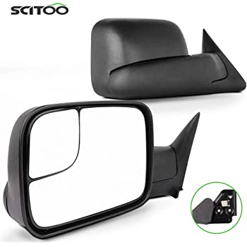 SCITOO Driver and Passenger Manual Side Tow Mirrors 7x10 Flip-Up with Mounting Brackets Replacement fit 1994-2001 for Dodge Pickup Truck 55156335AD 55156334AD