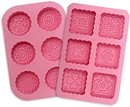 YGEOMER 2pcs Soap Mold, 6 Cavity Round and Square Silicone Mooncake Cake Chocolate Mold