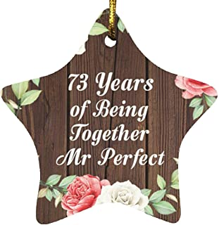73rd Anniversary 73 Years of Being Mr Perfect - Star Wood Ornament A Christmas Tree Hanging Decor - for Wife Husband Wo-Me...