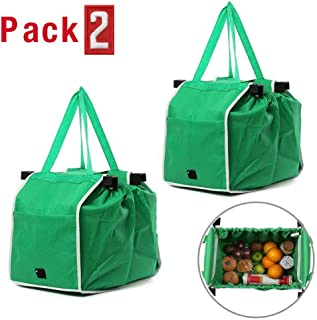 Home Kitchen Reusable Grocery Bags Set of 2, Foldable Shopping Tote Bag Organizer for Supermarket Trolley Cart Outdoor Camping, Holds Up to 40 lbs (Green)