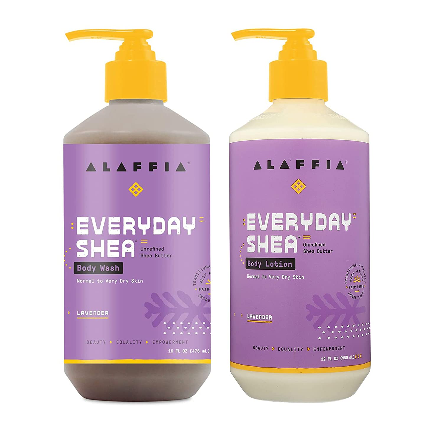 Alaffia EveryDay Shea Body Lotion 2021 and Wash Online limited product Bundle Normal -