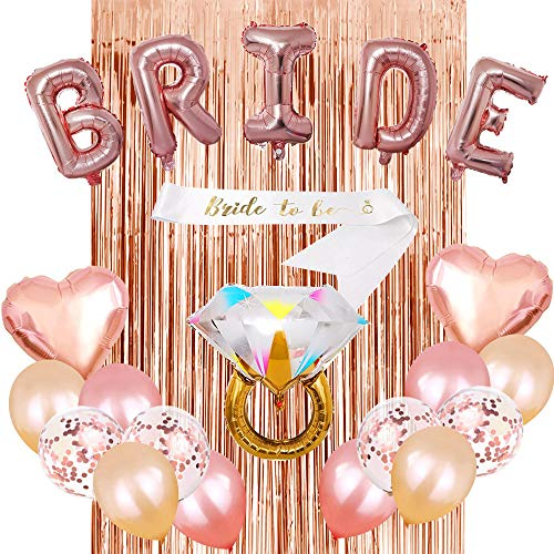 YFWUQI Addio al Nubilato Sposa, Bride to be Decoration Kit con Bride Striscione, Palloncini in Lamina Oro Rosa, Anello, Seta da Pioggia, Nastro