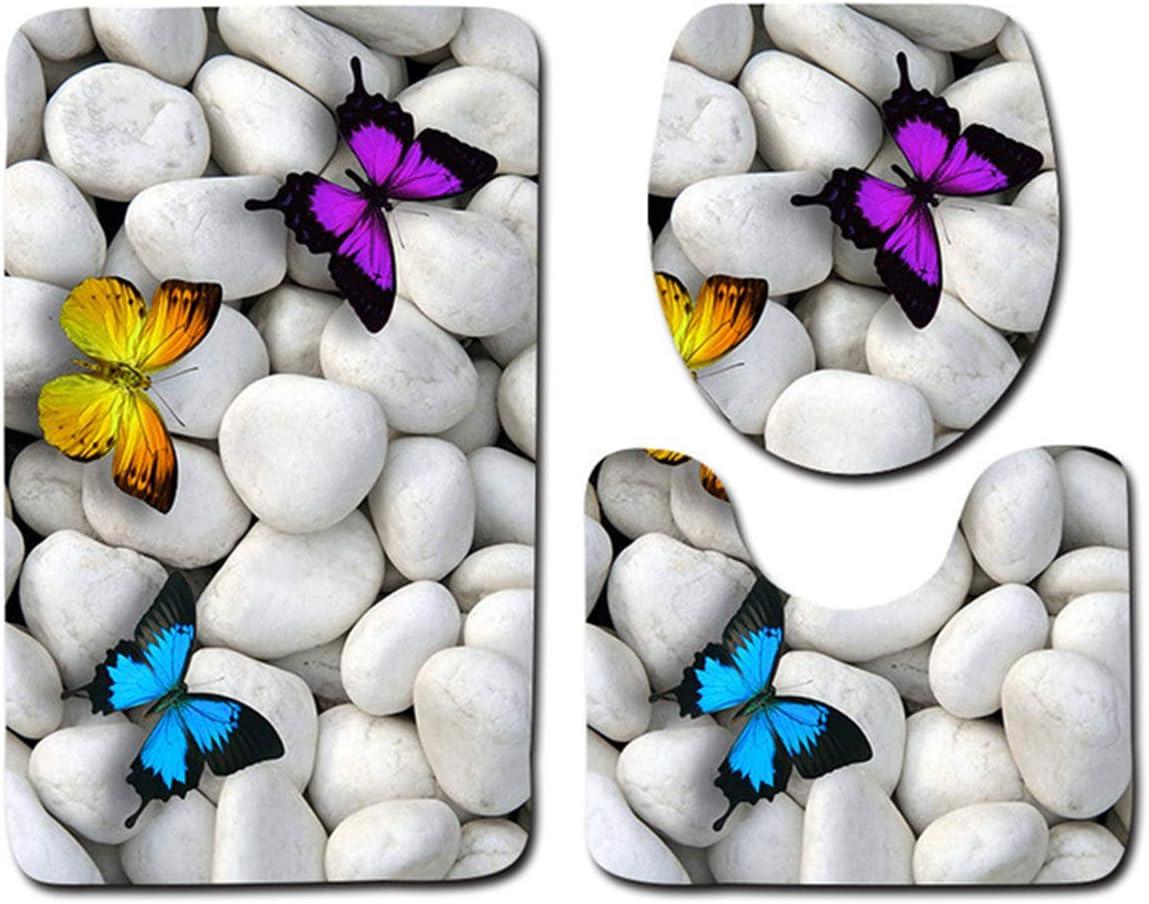 3 Pezzi//Set Tappetino da Bagno Antiscivolo Set Tappetino da Bagno Doccia Tappetino Coperchio del Coperchio del Water E Piedistallo a Forma di U Tappeto di Contorno Morbido Water