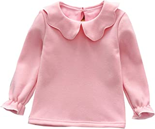 iChunhua Baby Kids Girls Long Sleeve Basic Shirt Warm Winter Turn-Down Collar Solid Tee Shirt