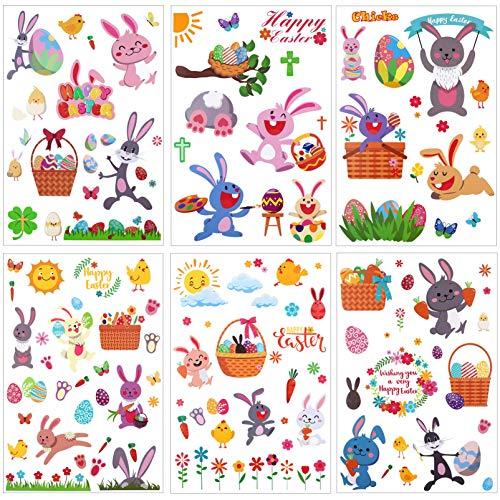 ABOOFAN - Adhesivo de Pascua para niños con diseño de conejo, huevos de Pascua, autoadhesivo, para ventana, fiesta de Pascua, para decoración de vacaciones, 6 hojas