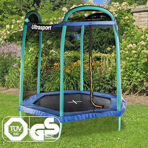 Ultrasport Gartentram-/Kindertrampolin mit niedriger Einstiegshöhe, Komplettset inkl. Sprungmatte mit UV-Beschichtung, Sicherheitsnetz, gepolsterten Stahlbügeln & Randabdeckung, Sechseck