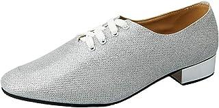 besbomig Men's Jazz Tango Ballroom Latin Dance Shoes Round Toe 2.5cm Heel Soft Outsole Modern Dance Shoes