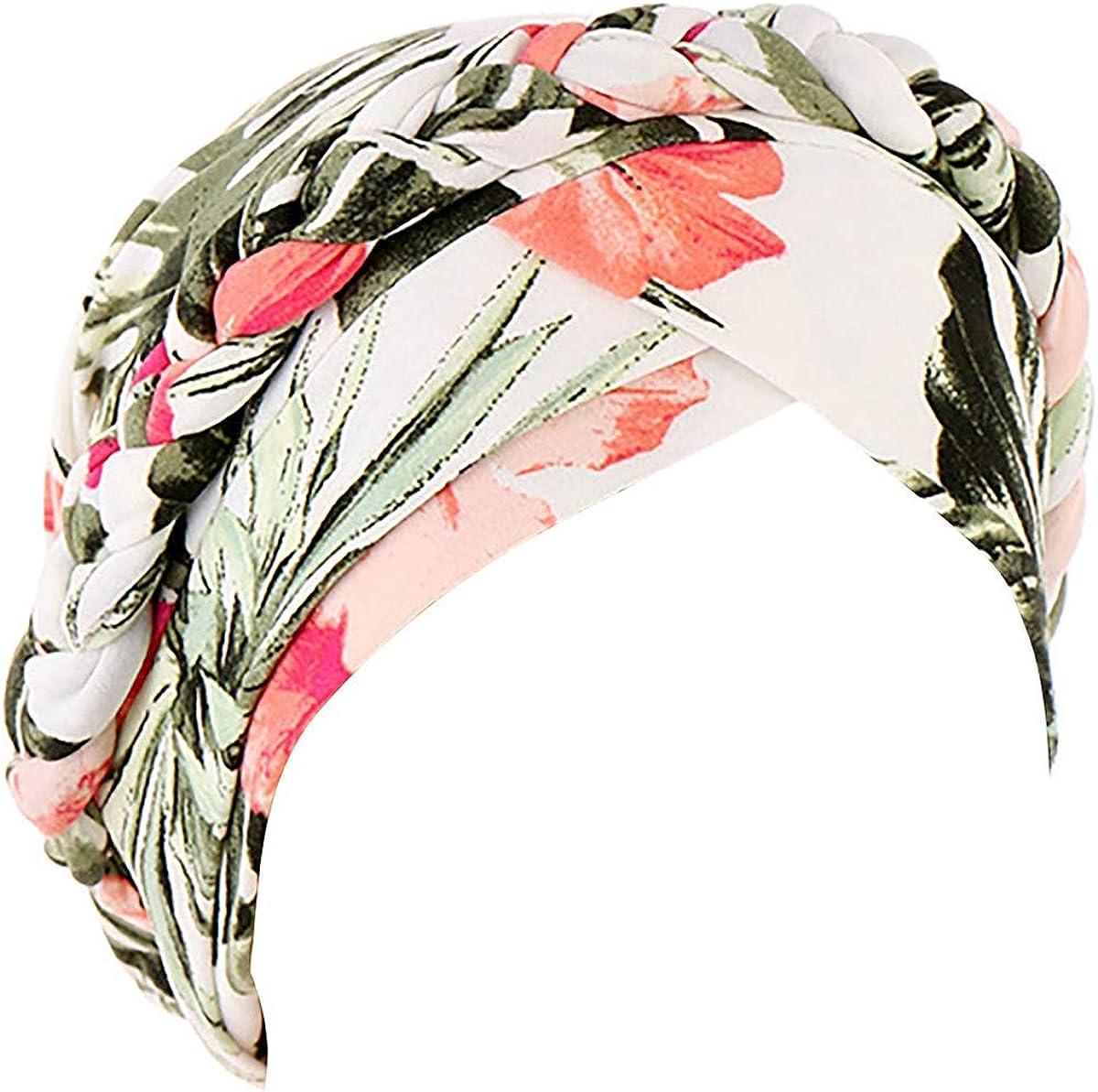 Floral Printed Turban Hat Braid Turban Head Wrap Baggy Slouchy Beanie Chemo Cap