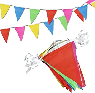 Novelty Place [Multi-Color] Pennant Banners - 100 Feet 75 Flags 5 Colors - Birthday Party Grand Opening Christmas Decorations