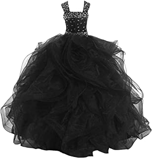 VeraQueen Girl's Princess Beaded Straps Ruffled Pageant Dresses A Line Sleeveless Flower Girl Dress