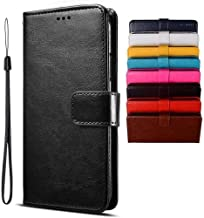 BRAND SET Case for Infinix Note 7 Lite/Infinix Hot 9 Case Wallet Style Faux Leather flip Case with Secure Magnetic Closure Lock and Bracket Function Suitable for Infinix Hot 9/Note 7 Lite(Black)