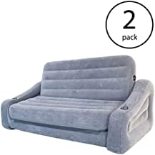 Intex Inflatable 2-in-1 Pull-Out Sofa & Queen Air Mattress Futon, Gray (2 Pack)