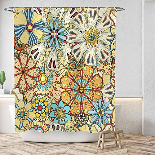 """D&M Bohemian Flower Shower Curtain Boho Floral Mandala Colorful Paisley Indian Ethnic Bath Curtain 72""""x72"""" for Bathroom Bathtub Accessories Waterproof Polyester Fabric with 12 Shower Hooks"""