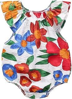 طفل الفتيات الصيف بلا أكمام طباعة داخلية القطن ملابس الطفل زهرة عارضة طفل رومبير (Color : White, Kid Size : 6M)