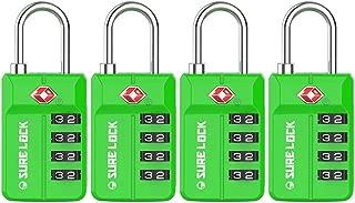TSA Approved Travel Luggage Locks, Open Alert Combination Lock for School Office & Gym Locker,Toolbox, Pelican Case,Easy Read Dials- 1, 2 & 4 Pack