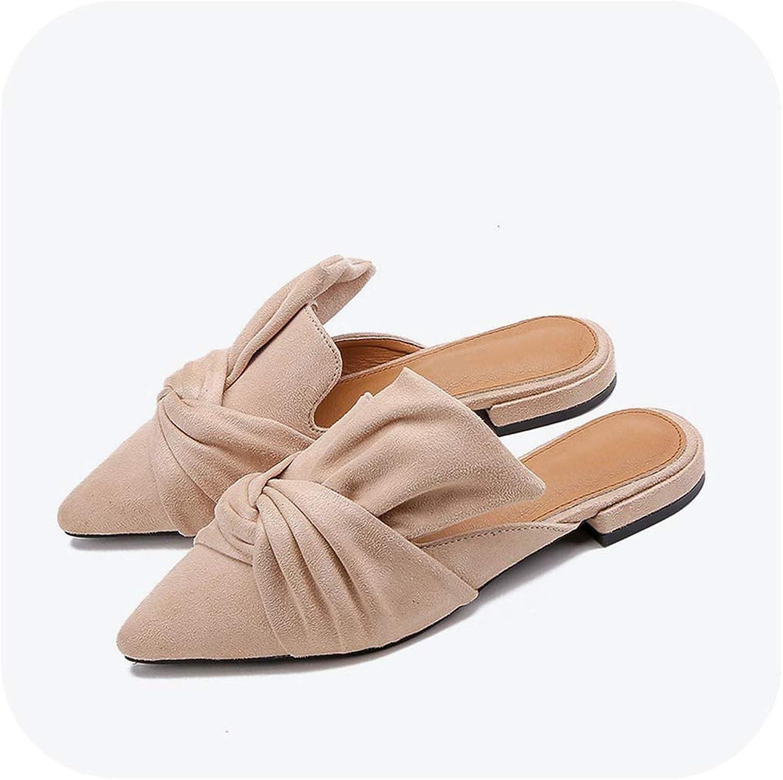 Women Slippers Flock Bowtie Mules Low Heels shoes Pointed Toe Plus Size Elegant Slipper