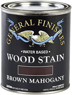General Finishes WYQT Water Based Wood Stain, 1 Quart, Brown Mahogany