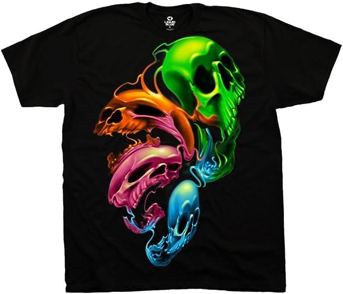 Skull with Glasses Long Sleeve T-Shirt Neon Dripping Bleeding Skull Tee