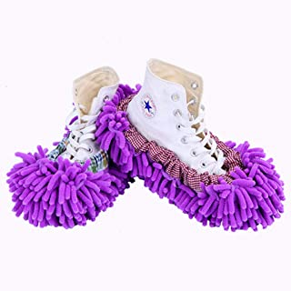 NYDZDM Multi-Function dust Mites mop Shoe Covers, Soft and Reusable Microfiber Foot Socks Floor Cleaning Tool Shoe Covers (Color : Purple)