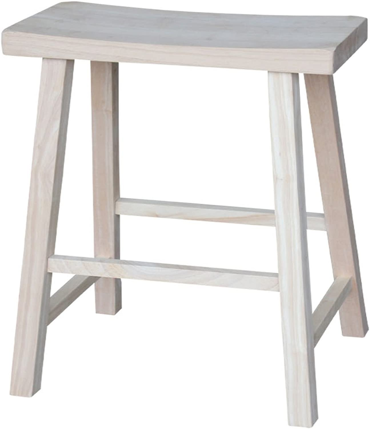 International Concepts 1S-682 24-Inch Saddle Seat Stool, Unfinished
