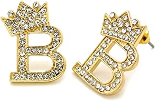 Fashion 21 Hip Hop Crown Tilted Initial Alphabet Letter Pierced Post Stud Earring Gold, Silver Tone