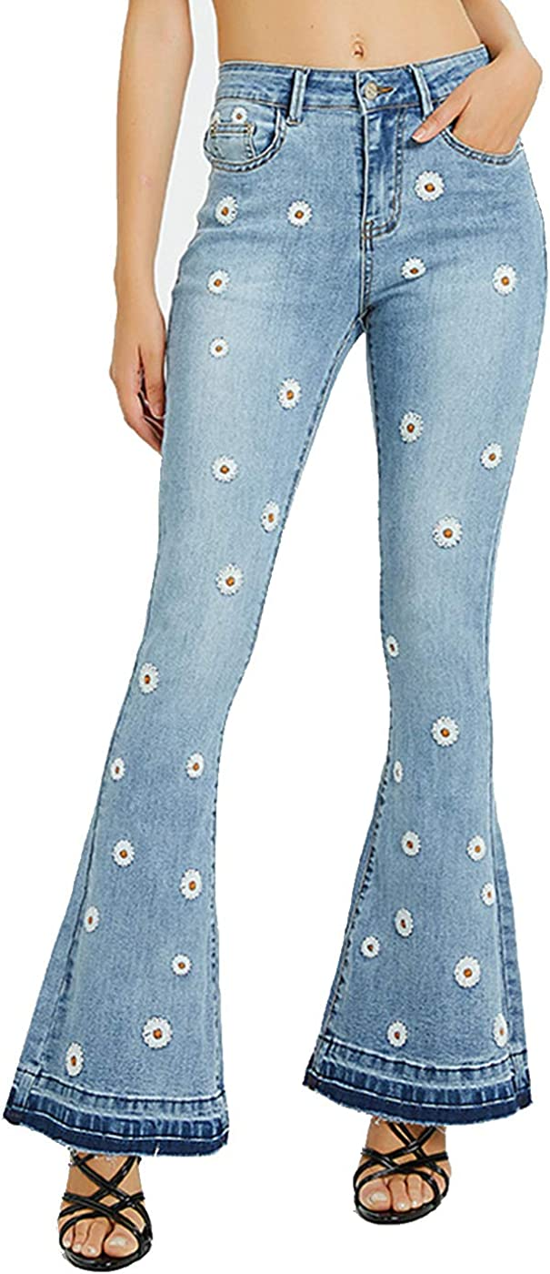 Anna-Kaci Womens Limited price Floral Daisy Embroidered Rise Max 65% OFF Bell Bottom F Mid