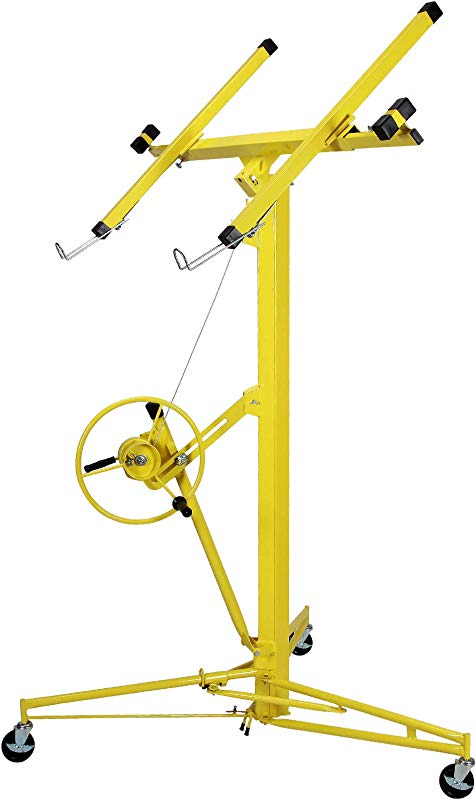 Unihome Drywall Lift 16 Feet Panel Hoist Jack Rolling Lifter Construction Tools Lockable W Caster Wheel Yellow 150 Lbs