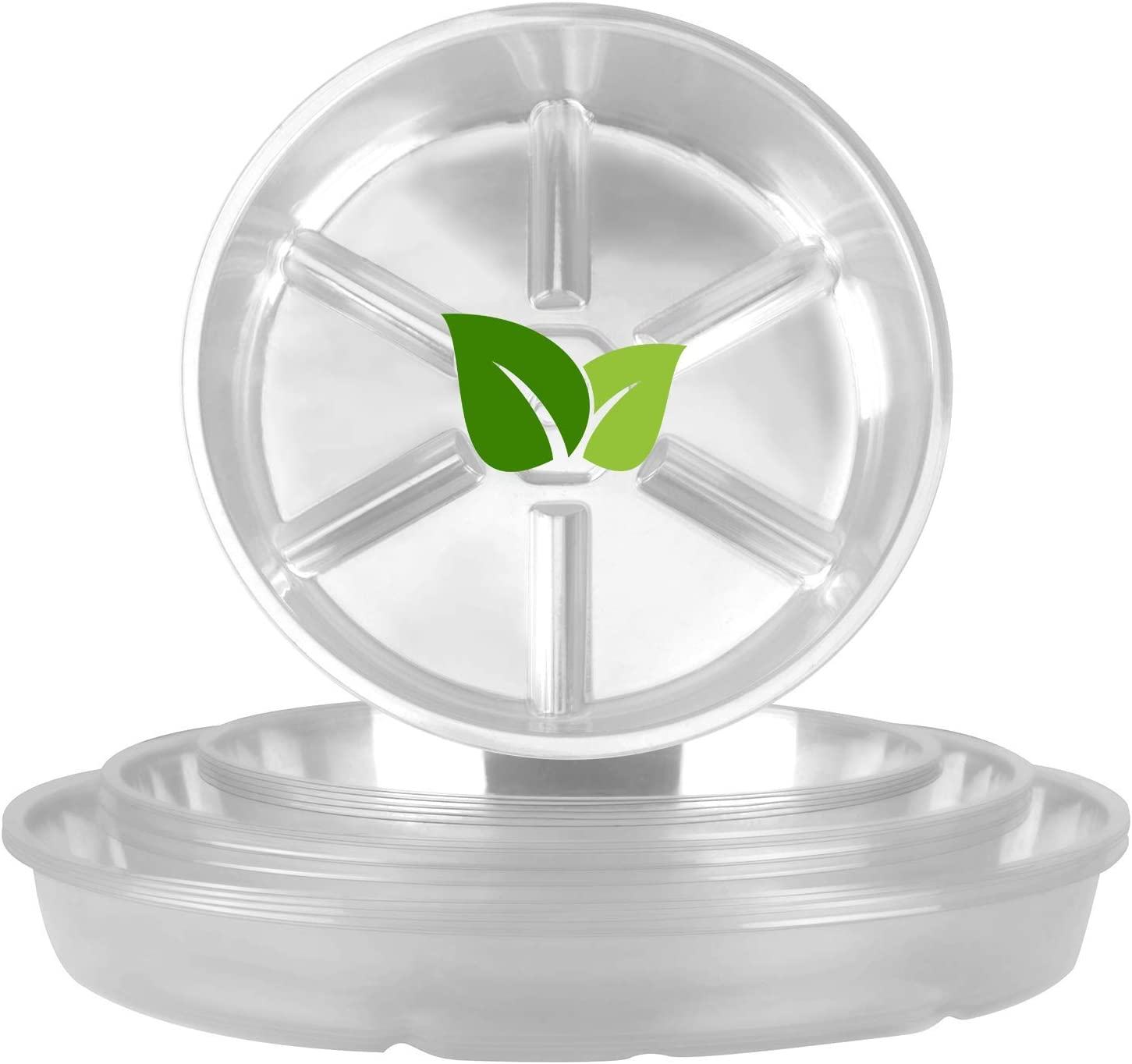 MICGEEK Plant Saucer 20 Pack (6/8/10/12inches) Plant Tray Clear Plastic Flower Plant Pot Saucers Drip Trays for Indoor & Outdoor Flower Pots
