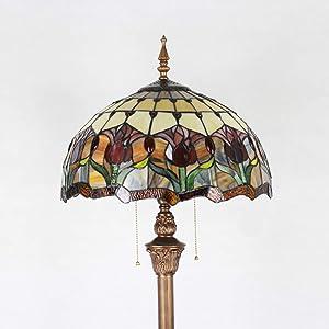 Gweat Tiffany Retro lampada da terra europea da 16 pollici della lampada da pavimento della camera da letto Den Decorative di arte di illuminazione bar di nozze pastorali Caratteristiche