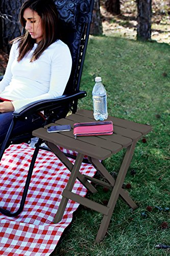 Camco 21048 51886 Mocha Large Adirondack Portable Outdoor Folding Side Table, Perfect for The Beach, Camping, Picnics, Cookouts & More, Weatherproof & Rust Resistant