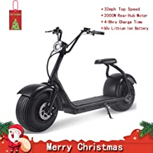 Electric Fat Tire Scooter Moped with 60V 2000w Rear Hub Motor Harley E-Bike,Adult Citycoco with a Front LED Light,Front & Rear Hydraulic Brake and Hugh Tires
