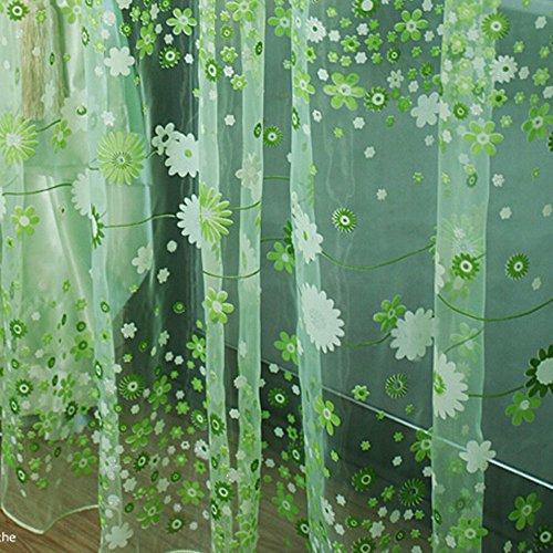 Deloito Blume Tüll Fenster Behandlung Vorhang Blackout Drapieren Volant Voile Panel Stoff Transparent Voile Gardinen für Wohnzimmer (Grün,200 * 100cm)