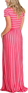 HOTAPEI Women's Summer Casual Loose Striped Maxi Dress Short Sleeve Dress with P