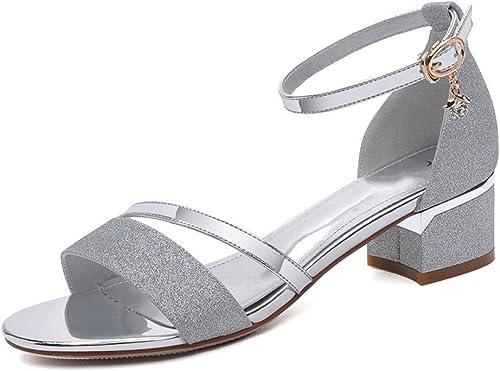 Sandalias Superficiales para damen Diamantes De Imitación Cabeza rotonda Hebilla De Un Botón Comodidad Transpirable Moda Salvaje