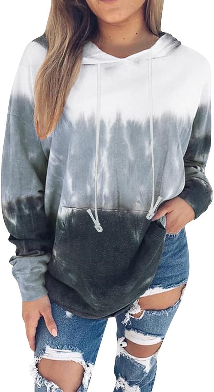 Sweatshirts for Women,Womens Trendy Hoodies Long Sleeve Tie Dye Sweatshirts Teen Girls Hooded Pullover Jumper Tops