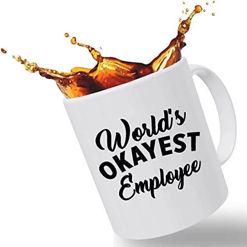 cae09b8a1aa01 Best Funny Mugs Promotion Gift, World's Okayest Employee Funny Coffee Mug  11 oz Handcrafted Porcelain