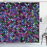 N\A Karierter Duschvorhang, kleine Quadrate mit lebendigen Farben in diagonaler Reihenfolge Mosaik aus Pixelmuster, Stoff Stoff Badezimmer Dekor Set mit Haken, Lila Pink