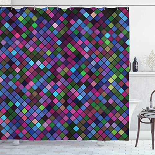 QDAS 60X72inch Checke douchegordijn kleine vierkanten met levendige kleuren in Diagonale Orde Mozaïek van Pixel Patroon Doek Stof Badkamer Decor Set met haken