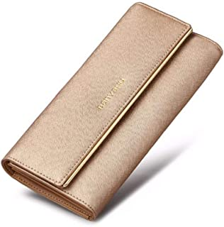 CHENDX Handbags New Ladies Leather Long Capacity Clutch Bag Simple Solid Color Tri-Fold Wallet Large Capacity Card Package (Color : Gold, Size : 19 * 9.5 * 3.5CM)