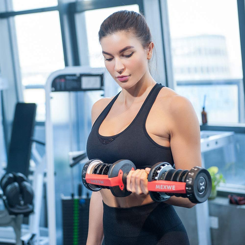 Buy DELOBOLL Adjustable Dumbbell 20 lbs Fitness Dial Dumbbell ...